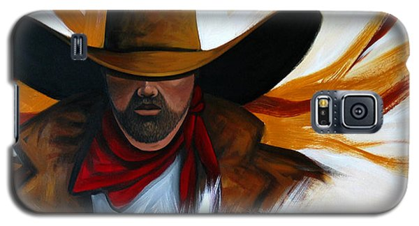 Galaxy S5 Case featuring the painting Brushstroke Cowboy #4 by Lance Headlee