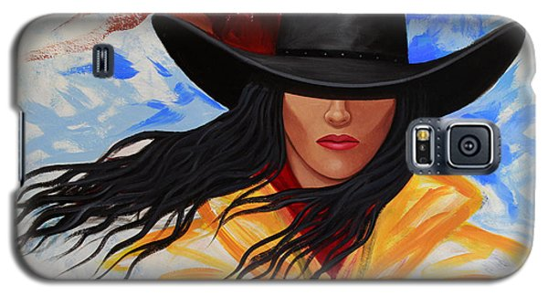 Galaxy S5 Case featuring the painting Brushstroke Cowgirl #3 by Lance Headlee