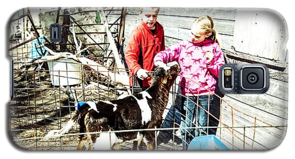 Galaxy S5 Case featuring the photograph Bucket Calves And Kids by Shirley Heier