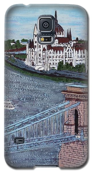Galaxy S5 Case featuring the painting Budapest Bridge by Jasna Gopic