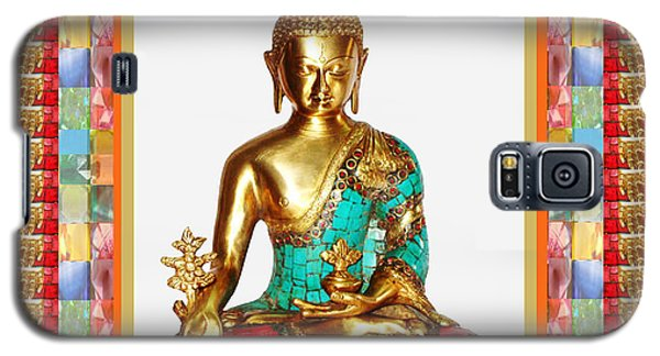 Buddha Sparkle Bronze Painted N Jewel Border Deco Navinjoshi  Rights Managed Images Graphic Design I Galaxy S5 Case by Navin Joshi
