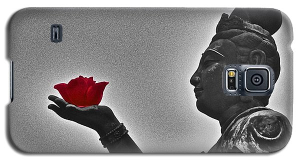 Galaxy S5 Case featuring the photograph Buddha With Rose  by Sarah Mullin