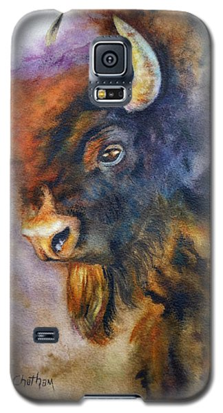 Galaxy S5 Case featuring the painting Buffalo Business by Karen Kennedy Chatham