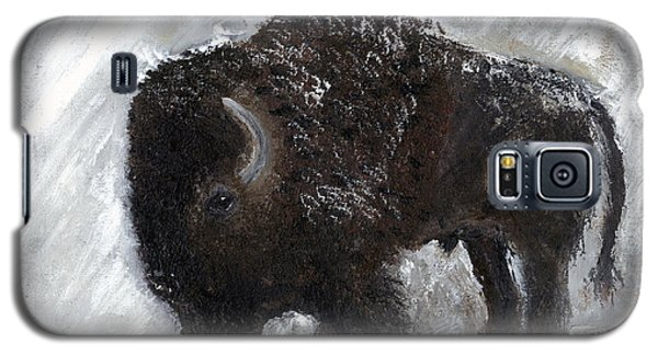 Galaxy S5 Case featuring the painting Buffalo In The Snow by Barbie Batson
