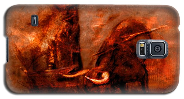 Galaxy S5 Case featuring the painting Bullfight by Kim Gauge