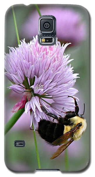Galaxy S5 Case featuring the photograph Bumblebee On Clover by Barbara McMahon