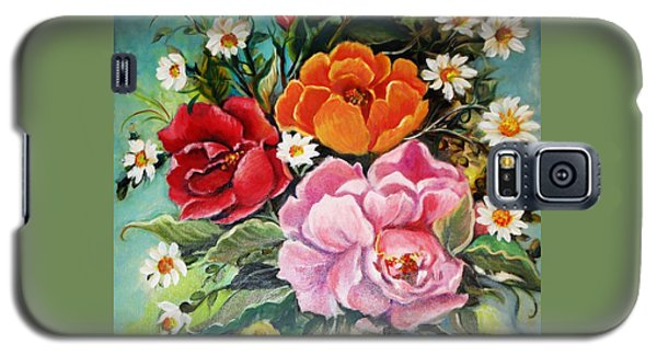 Galaxy S5 Case featuring the painting Bunch Of Flowers by Yolanda Rodriguez