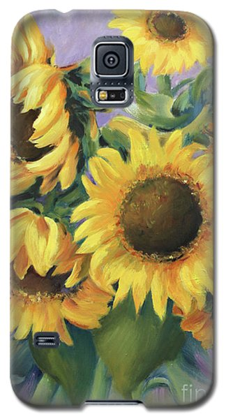 Galaxy S5 Case featuring the painting Bunch Of Sunflowers by Marta Styk