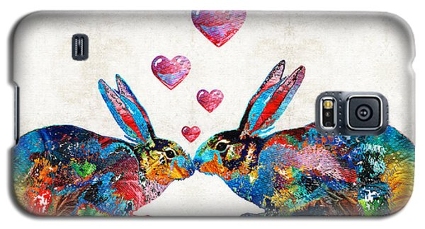 Bunny Rabbit Art - Hopped Up On Love - By Sharon Cummings Galaxy S5 Case by Sharon Cummings