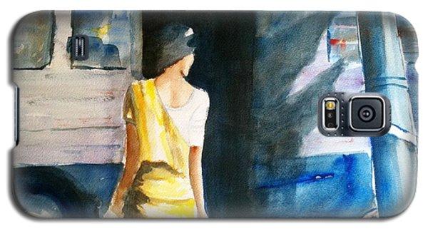 Bus Stop - Woman Boarding The Bus Galaxy S5 Case by Carlin Blahnik