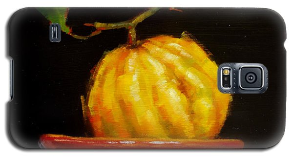 Galaxy S5 Case featuring the painting Bush Lemon In Black by Margaret Stockdale