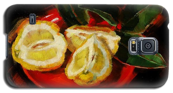 Galaxy S5 Case featuring the painting Bush Lemon Sliced by Margaret Stockdale