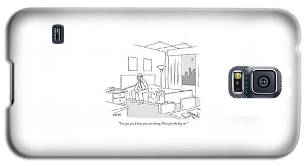 Businessman Sitting On A Bed In Hotel Room Galaxy S5 Case by Jack Ziegler