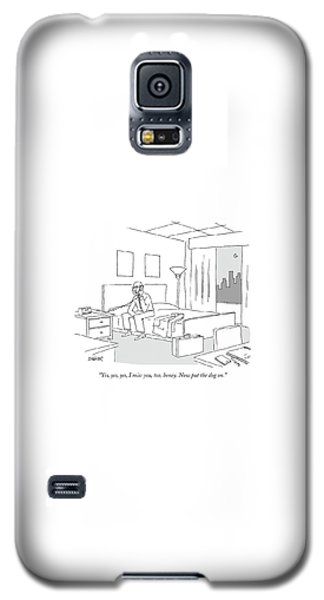 Businessman Sitting On A Bed In Hotel Room Galaxy S5 Case