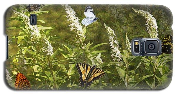 Butterflies In Golden Garden Galaxy S5 Case by Belinda Greb