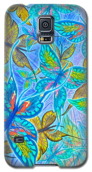 Galaxy S5 Case featuring the mixed media Butterflies On Blue by Teresa Ascone