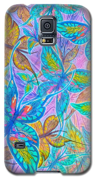 Galaxy S5 Case featuring the mixed media Butterflies On Lilac by Teresa Ascone