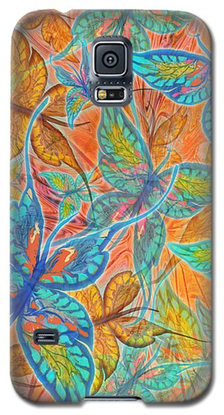 Galaxy S5 Case featuring the painting Butterflies On Tangerine by Teresa Ascone