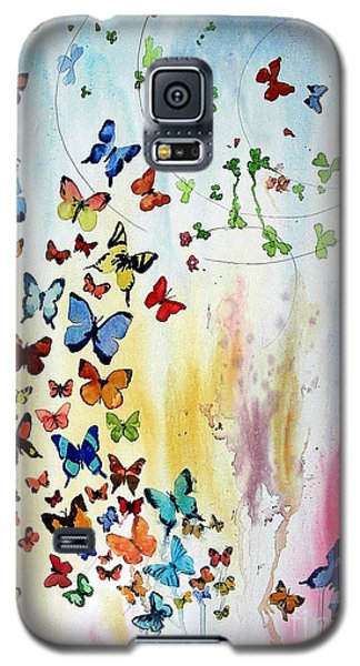 Galaxy S5 Case featuring the painting Butterflies by Tom Riggs