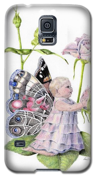Galaxy S5 Case featuring the drawing Butterfly Baby by Laurianna Taylor