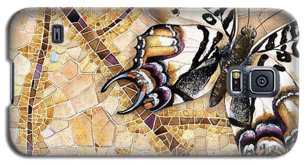 Galaxy S5 Case featuring the painting Butterfly Mosaic 01 Elena Yakubovich by Elena Yakubovich