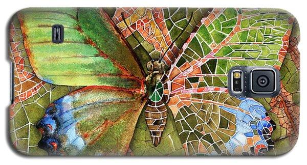 Galaxy S5 Case featuring the painting Butterfly Mosaic 03 Elena Yakubovich by Elena Yakubovich