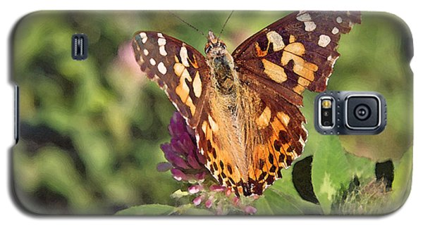 Galaxy S5 Case featuring the photograph Butterfly On Clover by Brooke T Ryan