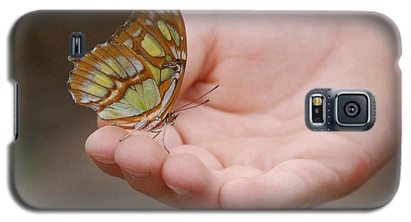 Galaxy S5 Case featuring the photograph Butterfly On Hand by Leticia Latocki