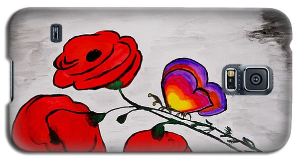 Galaxy S5 Case featuring the painting Butterfly Poppies by Ramona Matei