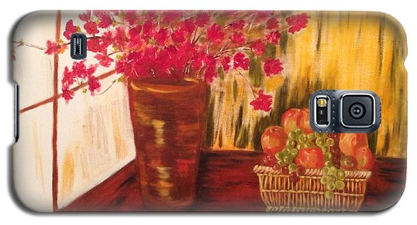 Galaxy S5 Case featuring the painting By The Window by Brindha Naveen