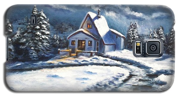 Galaxy S5 Case featuring the painting Cabin At Night by Bozena Zajaczkowska