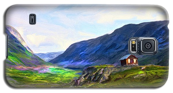 Galaxy S5 Case featuring the painting Cabin In The Valley by Tyler Robbins