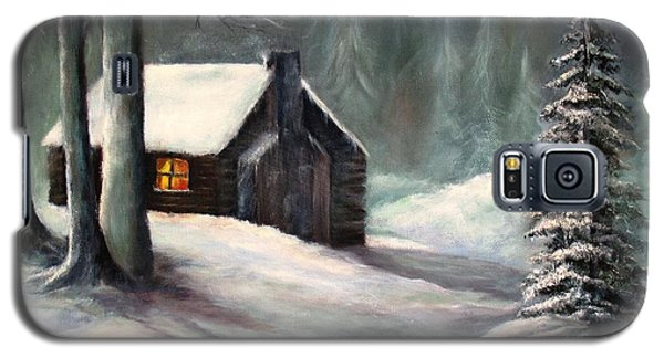 Galaxy S5 Case featuring the painting Cabin In The Woods by Hazel Holland