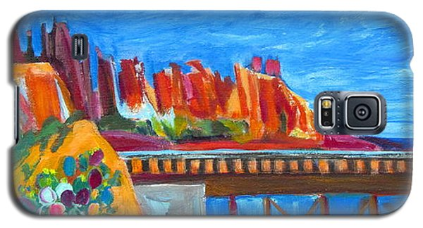 Galaxy S5 Case featuring the painting Cacti With Red Rocks And Rr Trestle by Betty Pieper