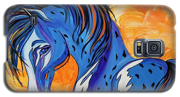 Galaxy S5 Case featuring the painting Cadet The Blue Horse by Janice Rae Pariza