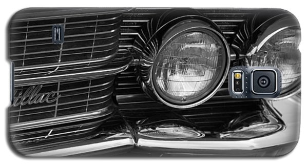 Galaxy S5 Case featuring the photograph Cadillac Grill And Lights B/w by Mick Flynn