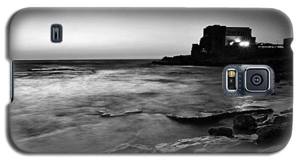 Galaxy S5 Case featuring the photograph Caesarea  Bw by Meir Ezrachi