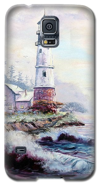 Galaxy S5 Case featuring the painting California Lighthouse by Lee Piper