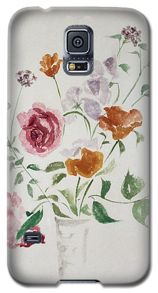 California Poppies And Roses In A Vase Galaxy S5 Case by Asha Carolyn Young