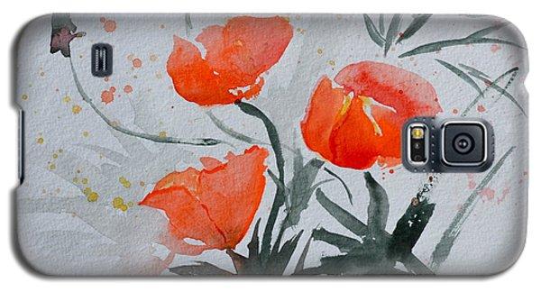 California Poppies Sumi-e Galaxy S5 Case