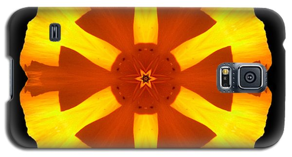 Galaxy S5 Case featuring the photograph California Poppy Flower Mandala by David J Bookbinder