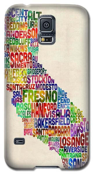 California Typography Text Map Galaxy S5 Case by Michael Tompsett