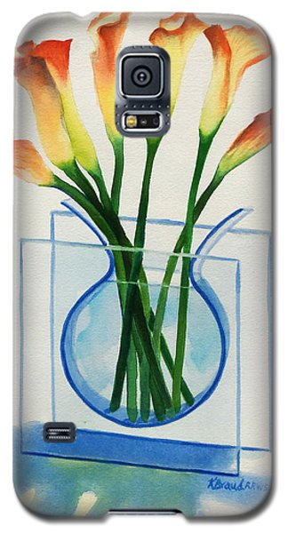 Galaxy S5 Case featuring the painting Calla Lilies by Kathy Braud