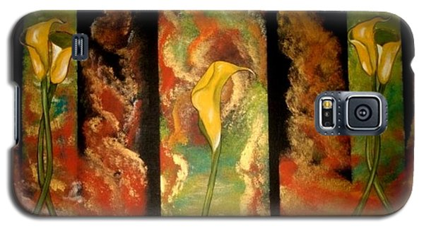 Galaxy S5 Case featuring the painting Calla Lilly Sunrise by Cindy Micklos