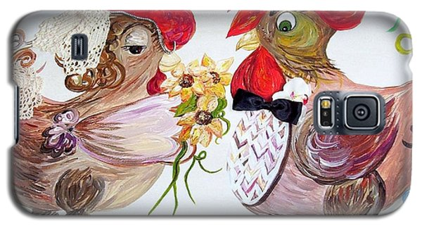 Galaxy S5 Case featuring the painting Calling All Chicken Lovers Say I Do by Eloise Schneider