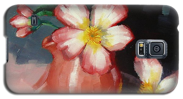 Galaxy S5 Case featuring the painting Camellias And Chinese Tea Jug by Margaret Stockdale