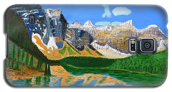 Galaxy S5 Case featuring the painting Canadian Mountains And Lake  by Magdalena Frohnsdorff