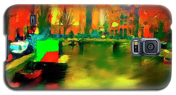 Galaxy S5 Case featuring the painting Canals Of Amsterdam by Ted Azriel