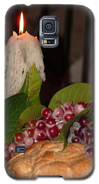 Galaxy S5 Case featuring the photograph Candle And Grapes by Marcia Socolik