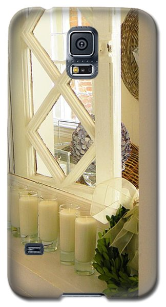 Galaxy S5 Case featuring the photograph Candles And Wicker And Window by Jean Goodwin Brooks